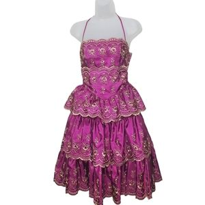 BETSEY JOHNSON Dress Purple Gold Floral Tiered 2